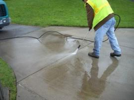 Pressure washing into vegetated areas